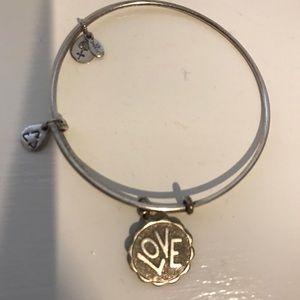 "Alex and Ani Silver Bracelet ""Love"" EUC"